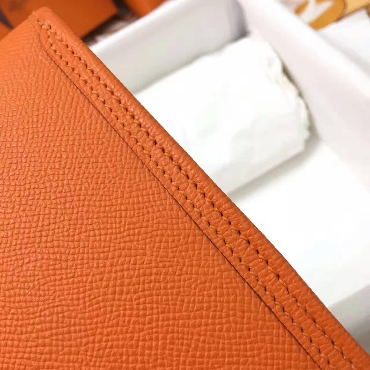 爱马仕钱包 Jige Elan 29cm Epsom 法国原产掌纹皮 93 Orange 橙色