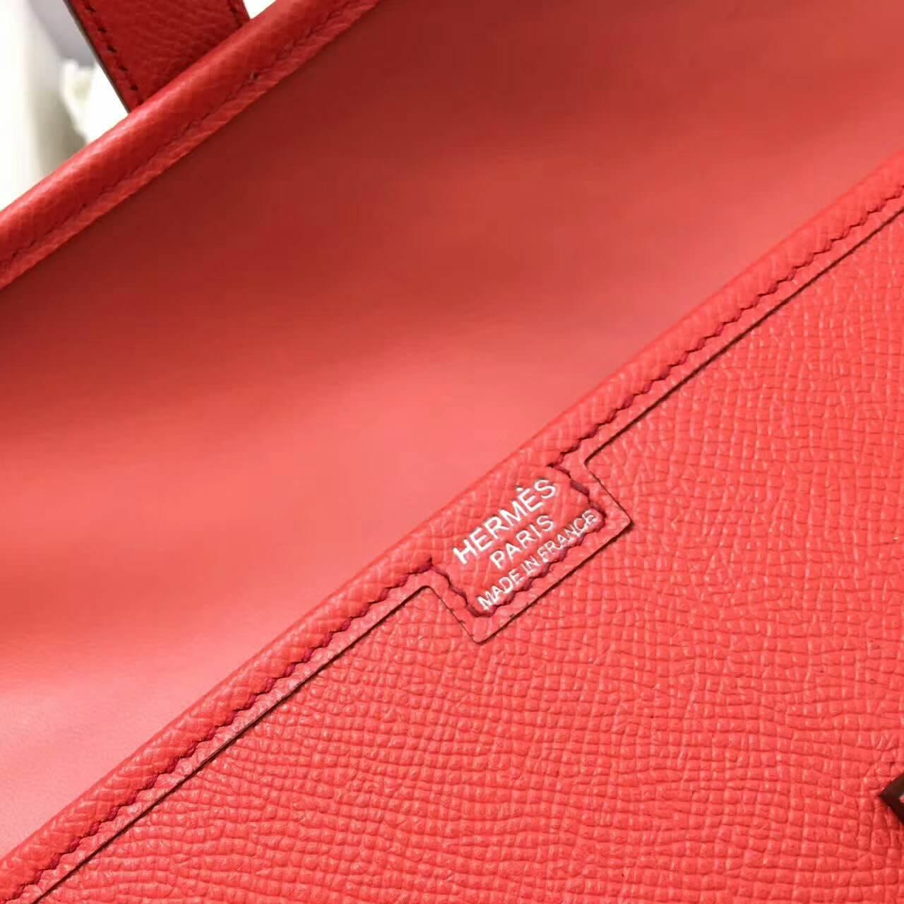 爱马仕钱包 Jige Elan 29cm Epsom 法国原产掌纹皮 T5 Rose Jaipur 普洱斋粉