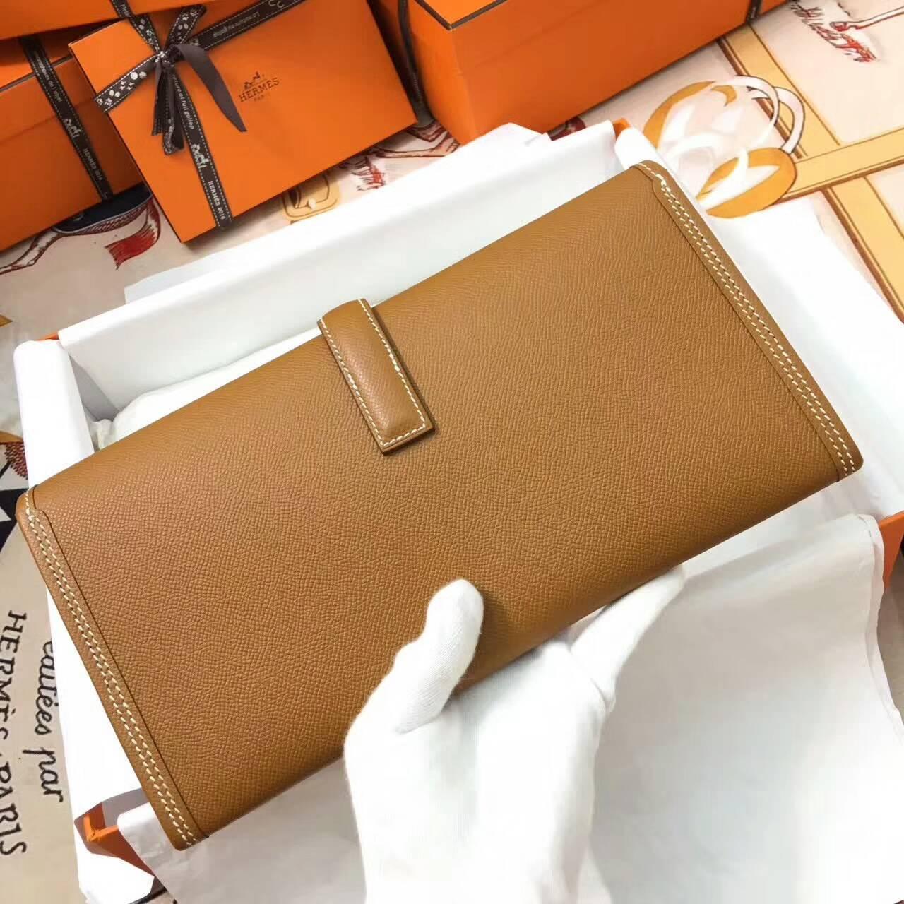 爱马仕钱包 Jige Elan 29cm Epsom 法国原产掌纹皮 37 Gold 金棕