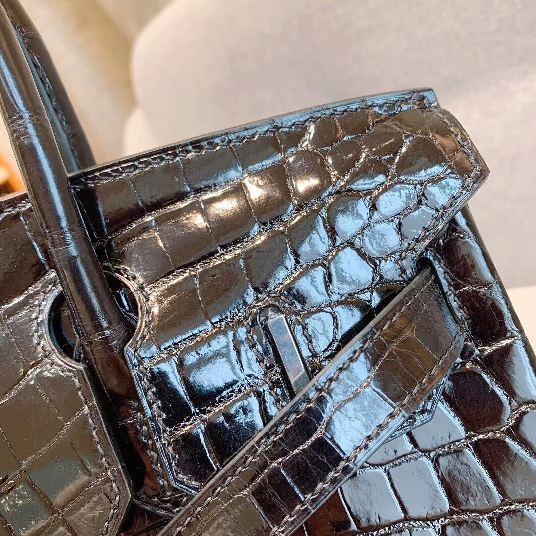 爱马仕包包 Birkin铂金包 30cm Shiny Niloticus亮面两点尼罗鳄 89黑色 银扣 蜜蜡线全手缝