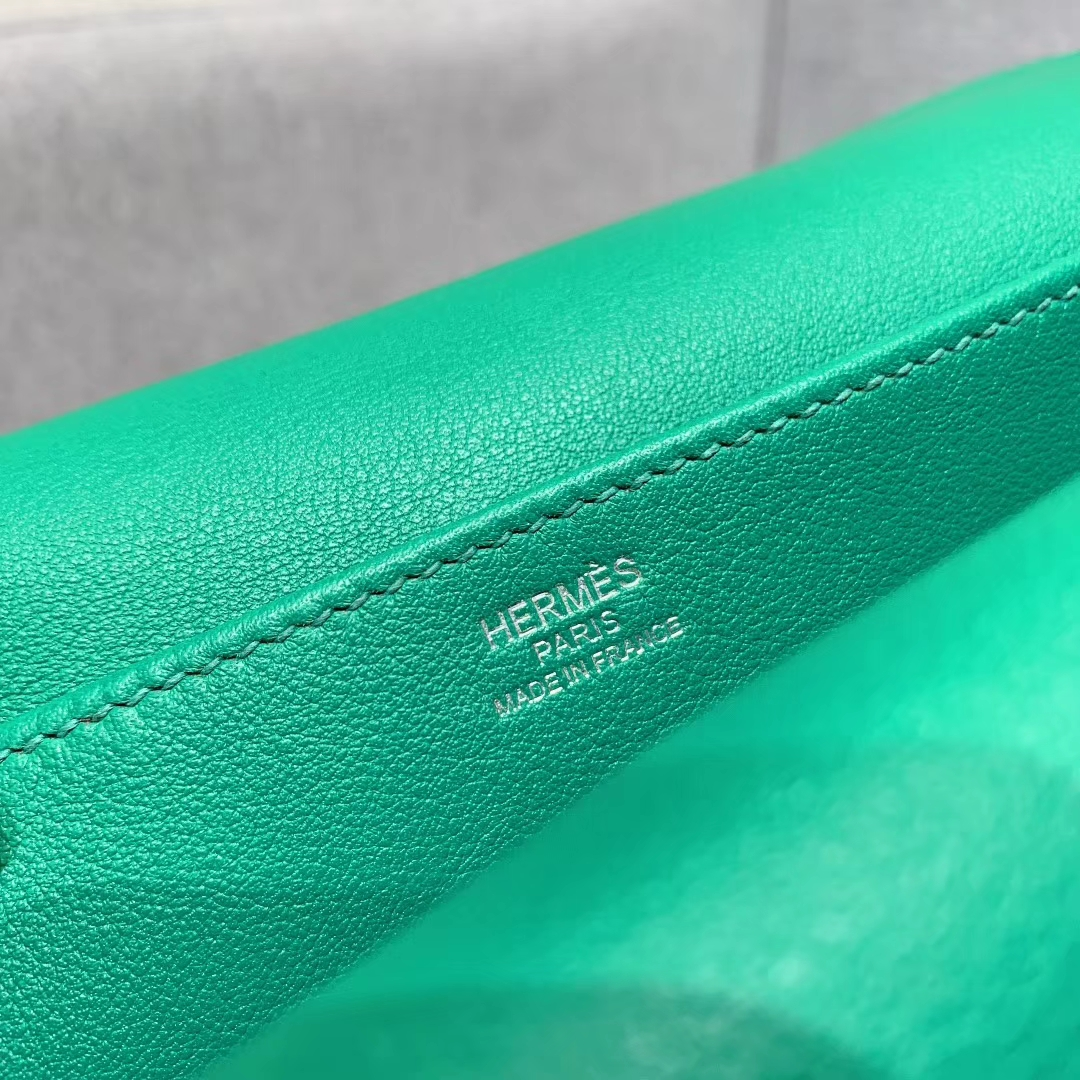 爱马仕包包 Hzlzan Mini Swift U4丝绒绿 银扣