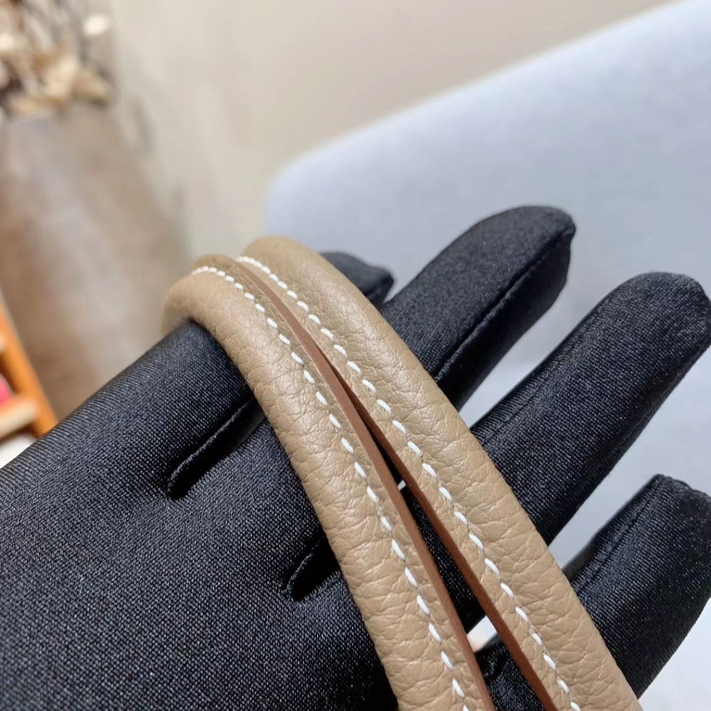 Hermes Garden Party 30cm Negonda拼帆布 大象灰拼自然色 银扣