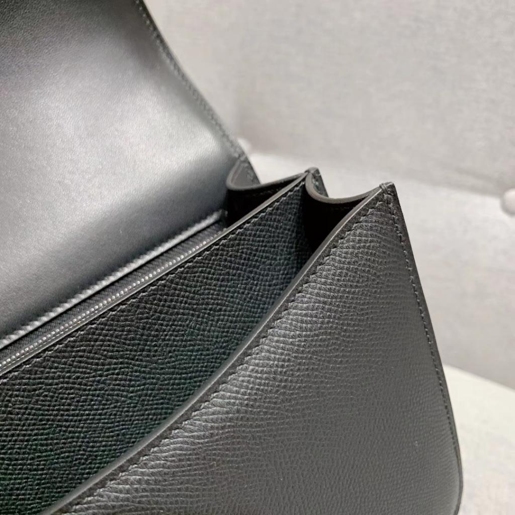 Hermes空姐包 Constance 24cm 原厂法国Epsom皮 黑色 银扣