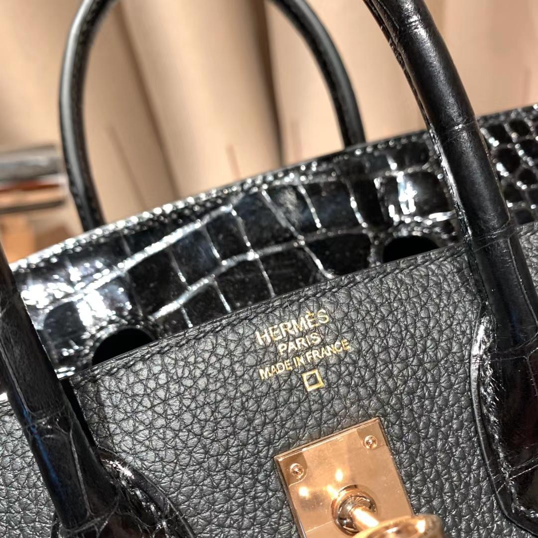 Hermes爱马仕 Birkin Touch 25cm 美洲方块鳄鱼拼Togo 黑色 玫瑰金扣