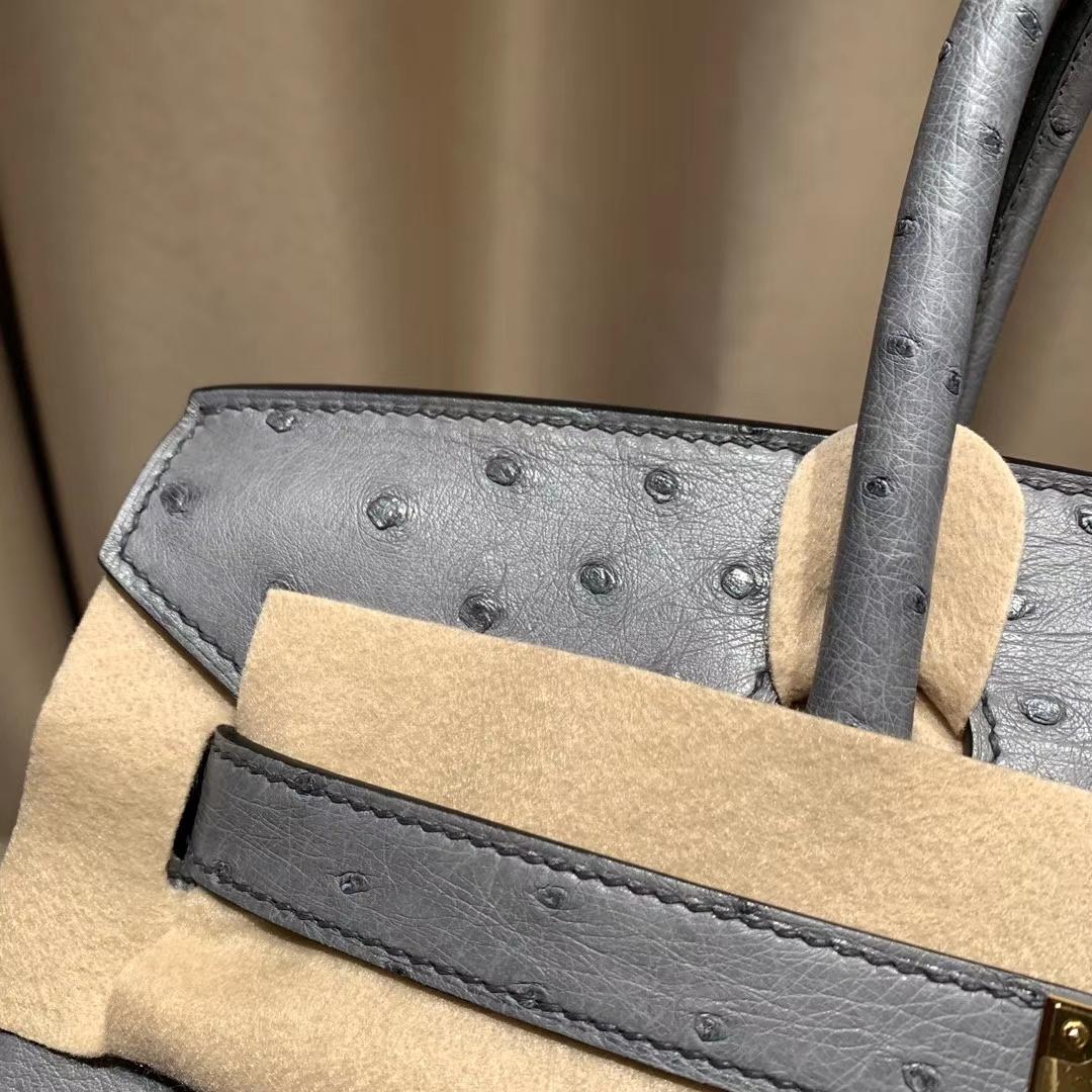 爱马仕铂金包 Birkin 30cm 南非鸵鸟 82玛瑙灰 金扣