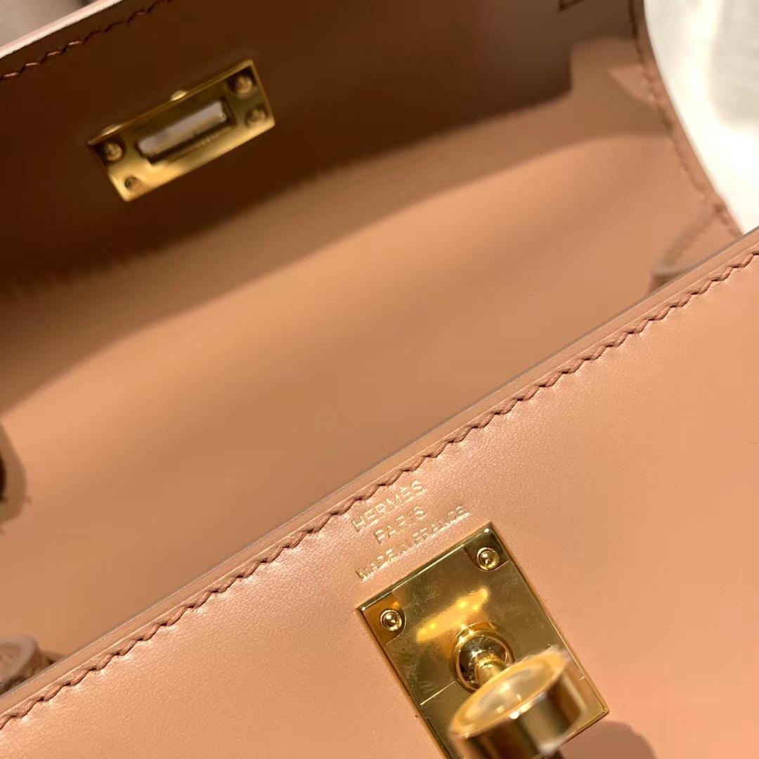 爱马仕包包 Kelly Mini大耳朵 20cm Box皮 黏土色 金扣