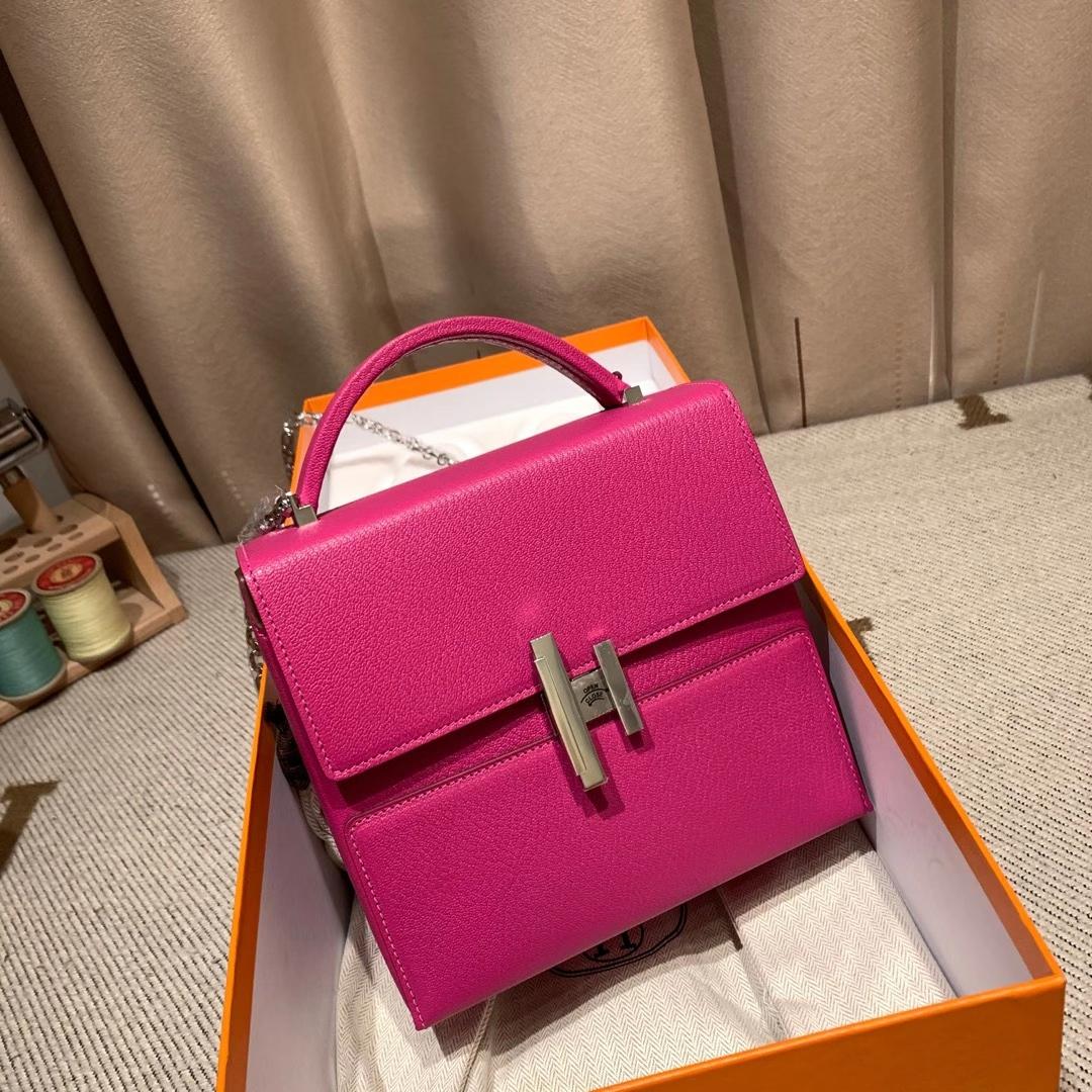 爱马仕包包 Cinhetic盒子包 18cm Chevre Mysore山羊皮 9I玉兰粉 银扣