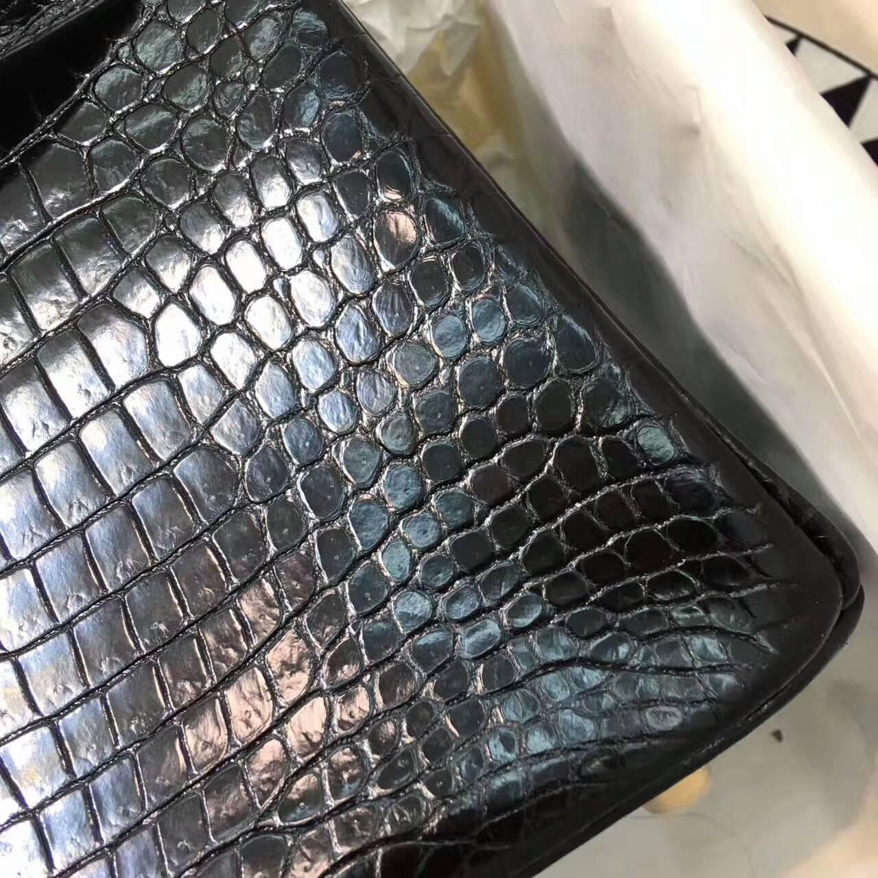 Birkin铂金包 Hermes包包 25cm Shiny Porosus Crocodile 亮面倒V澳洲原产湾鳄 89 Nior 黑色 金扣