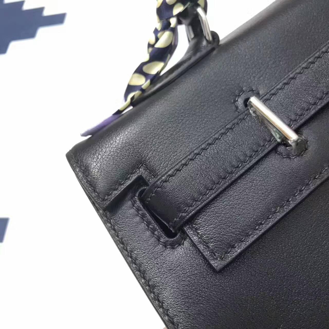 爱马仕包包 35Swift皮 KellyFlat CC89 Nior 黑色 蜡线手工缝制