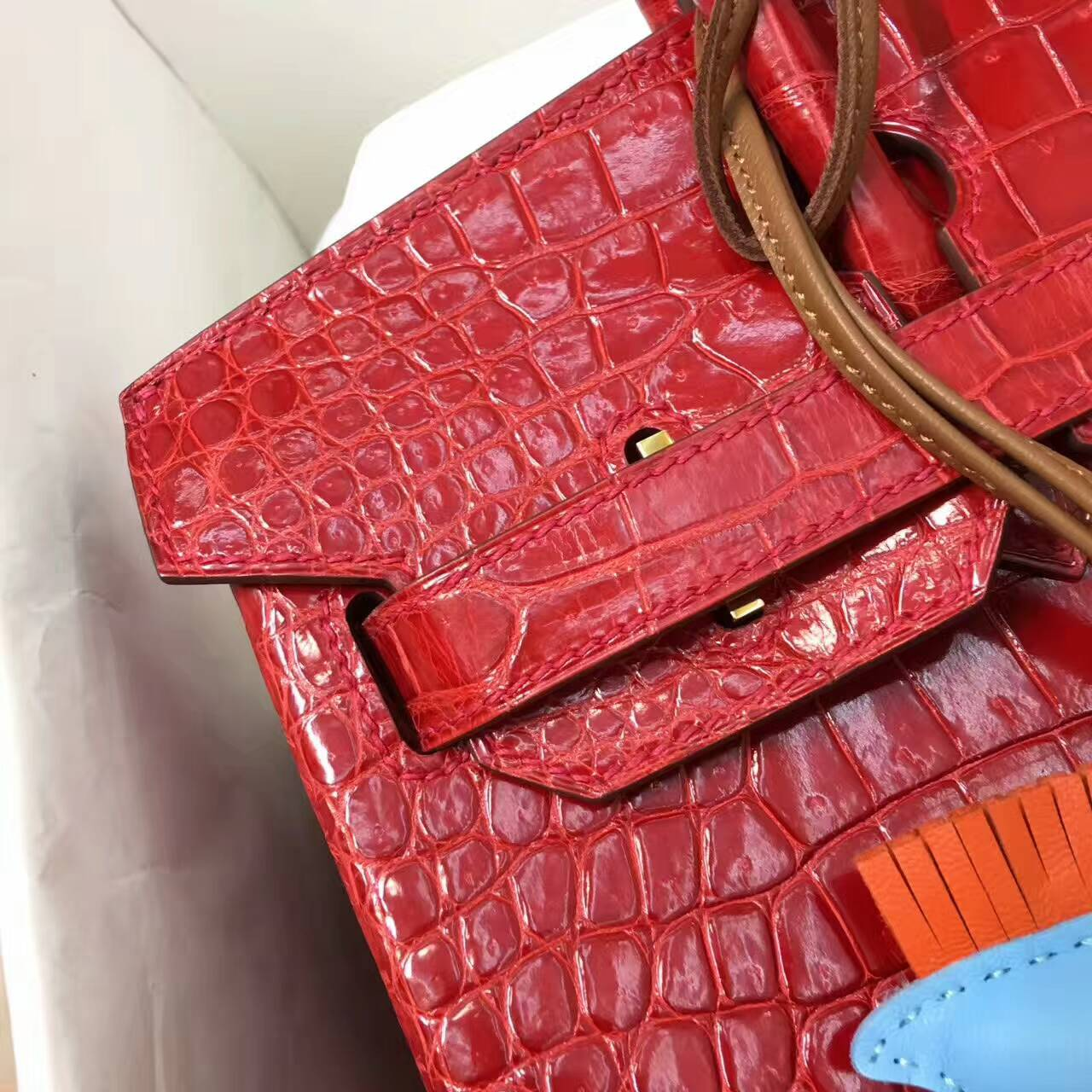 Birkin铂金包 Hermes包包 30cm Shiny Porosus Crocodile 亮面倒V澳洲原产湾鳄 95 Braise 法拉利红 金扣