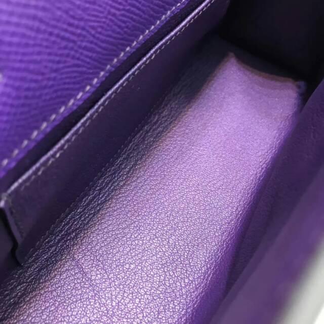 爱马仕包包 stock 22kelly pochette epsom皮 9W Crocus新梦幻紫 金扣 进口法国蜡线手工缝制