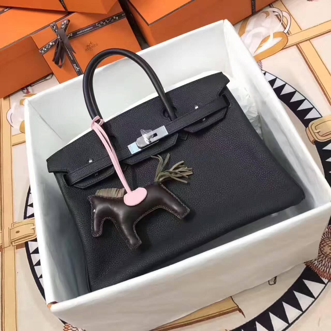 爱马仕铂金包 Birkin 30cm Togo 法国原产小牛皮 89 Nior 黑色 银扣