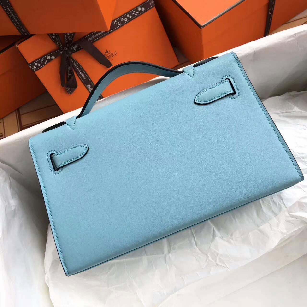 Hermes爱马仕 Mini Kelly pochette 22cm Swift 法国原产平纹小牛皮 3P Blue Atoll 马卡龙蓝 银扣