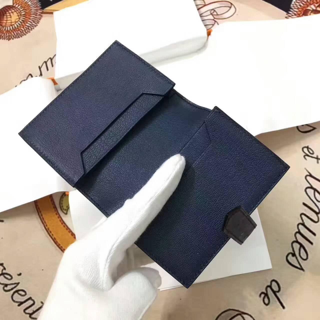 爱马仕卡包 鸵鸟皮 深宝石蓝 银扣 手工蜡线 时尚又实用