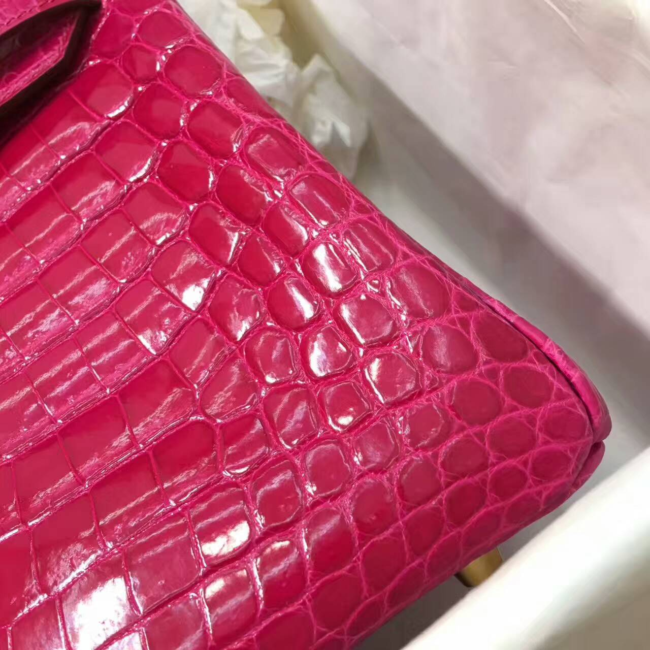 Birkin铂金包 Hermes包包 30cm Shiny Niloticus Crocodile 亮面两点非洲原产尼罗鳄 E5 Rose Tyrien 玫红 金扣