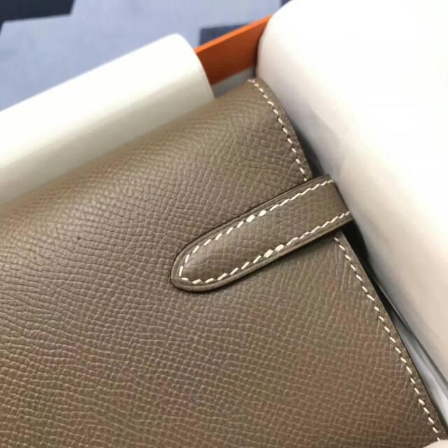 爱马仕Kelly long 21.5cm epsom CC18 Etoupe 大象灰 银扣 手缝蜡线 看得见的工艺
