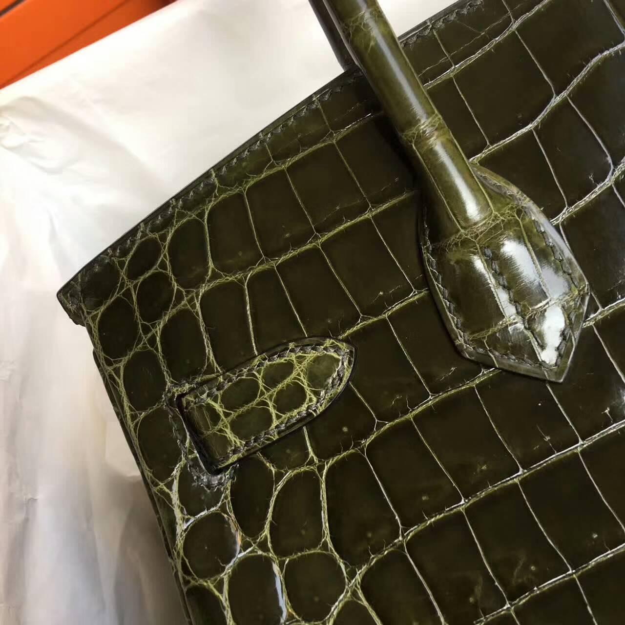 Birkin铂金包 Hermes包包 30cm Shiny Niloticus Crocodile 雾面两点非洲原产尼罗鳄 61 Vert Olive 橄榄绿 银扣