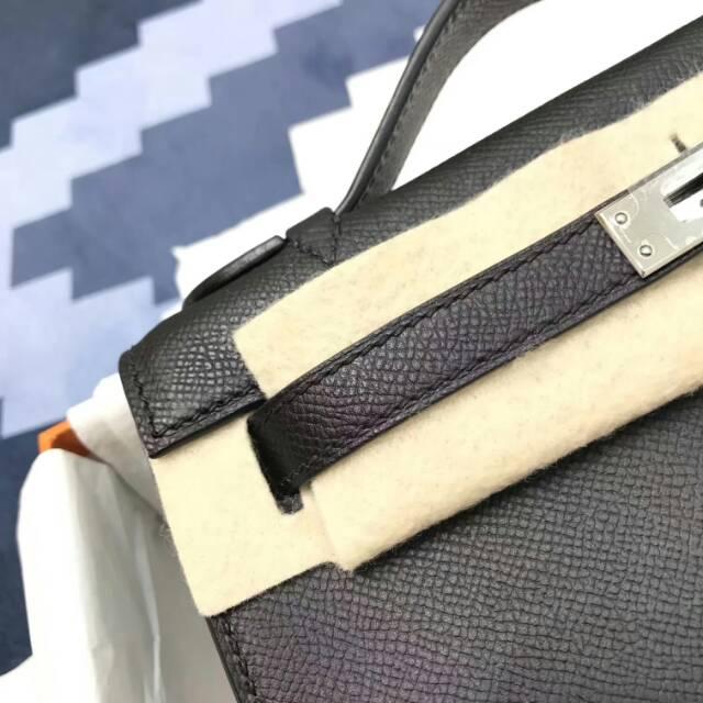 爱马仕包包 stock 22kelly pochette epsom皮 89 Nior 黑色 银扣 进口法国蜡线手工缝制