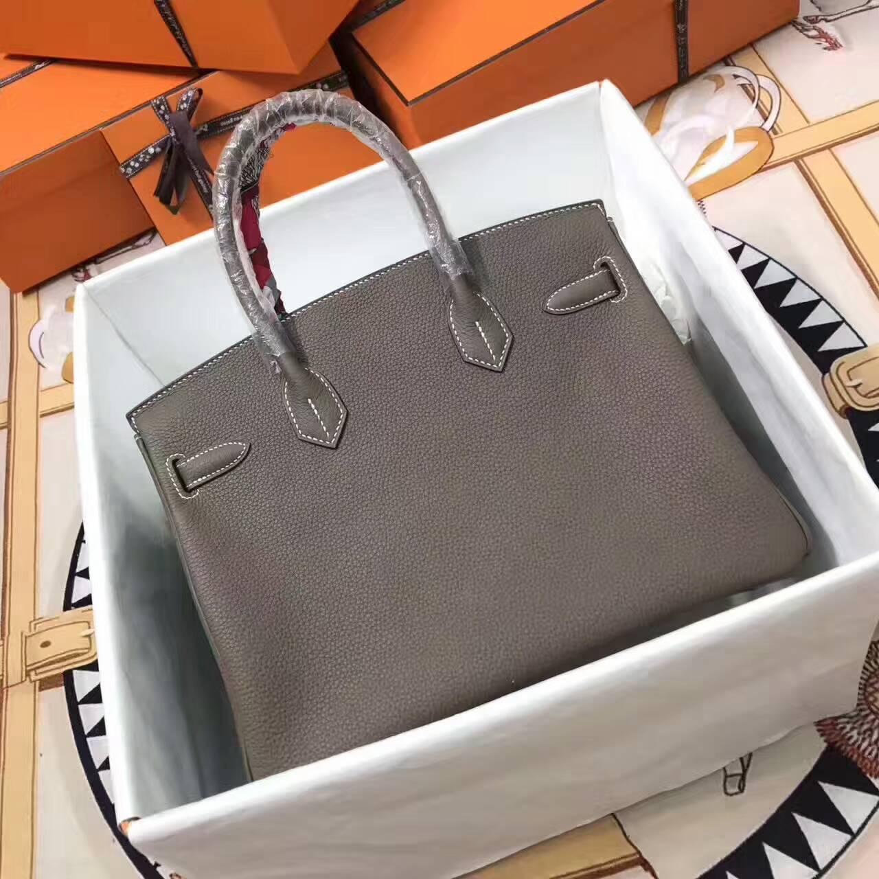 爱马仕铂金包 Birkin 30cm Togo 法国原产小牛皮 18 Etoupe 大象灰 银扣