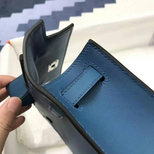 爱马仕包包 stock 22kelly pochette swift皮 S7 Blue Galice 加利西亚蓝 银扣 进口法国蜡线手工缝制