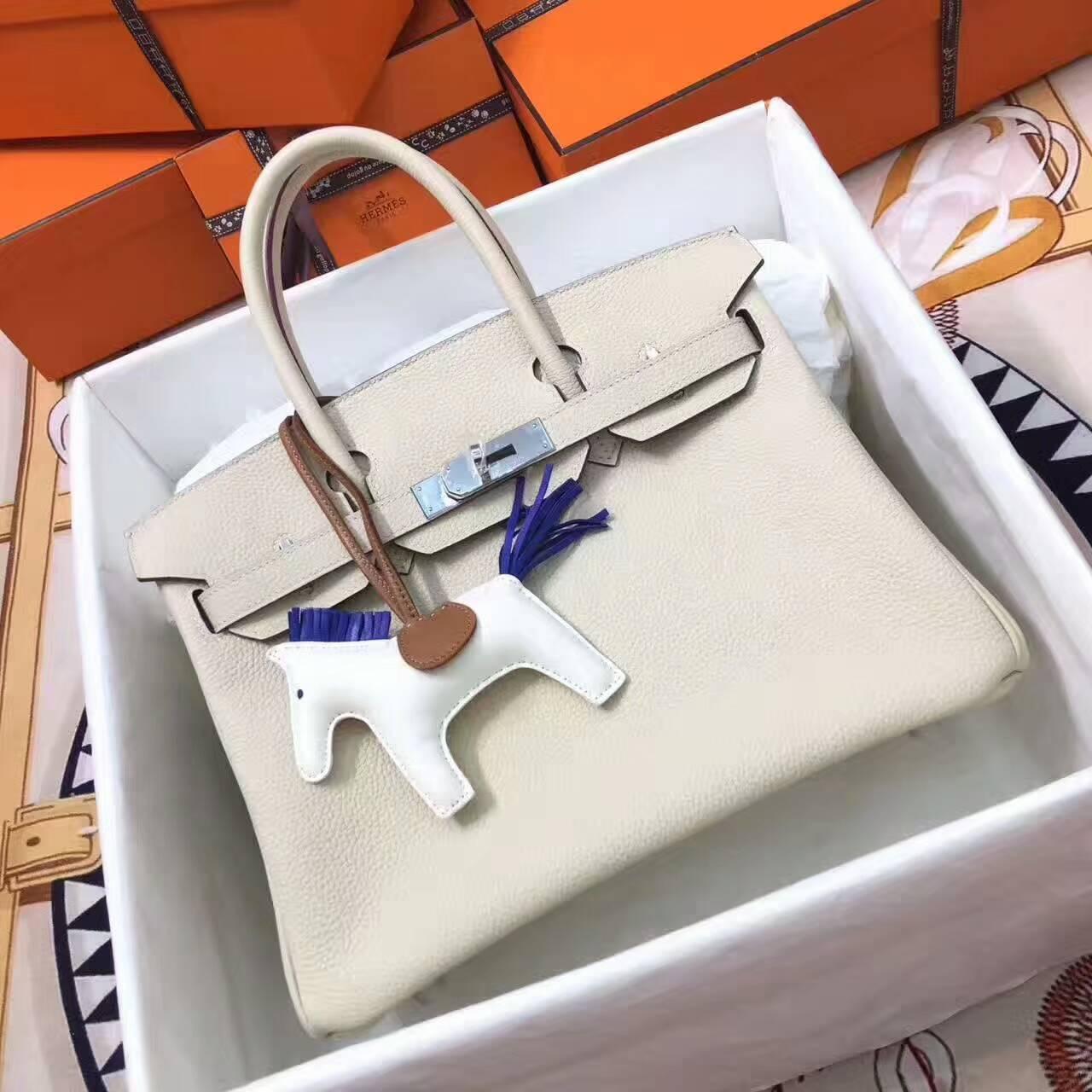 爱马仕铂金包 Birkin 30cm Togo 法国原产小牛皮 10 Craie 奶昔白 银扣