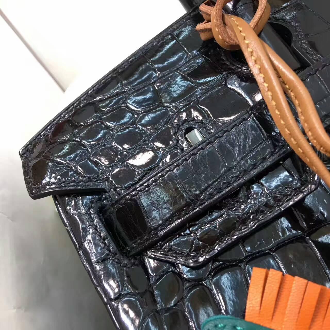 Birkin铂金包 Hermes包包 30cm Shiny Niloticus Crocodile 亮面两点非洲原产尼罗鳄 89 Nior 黑色 黑扣
