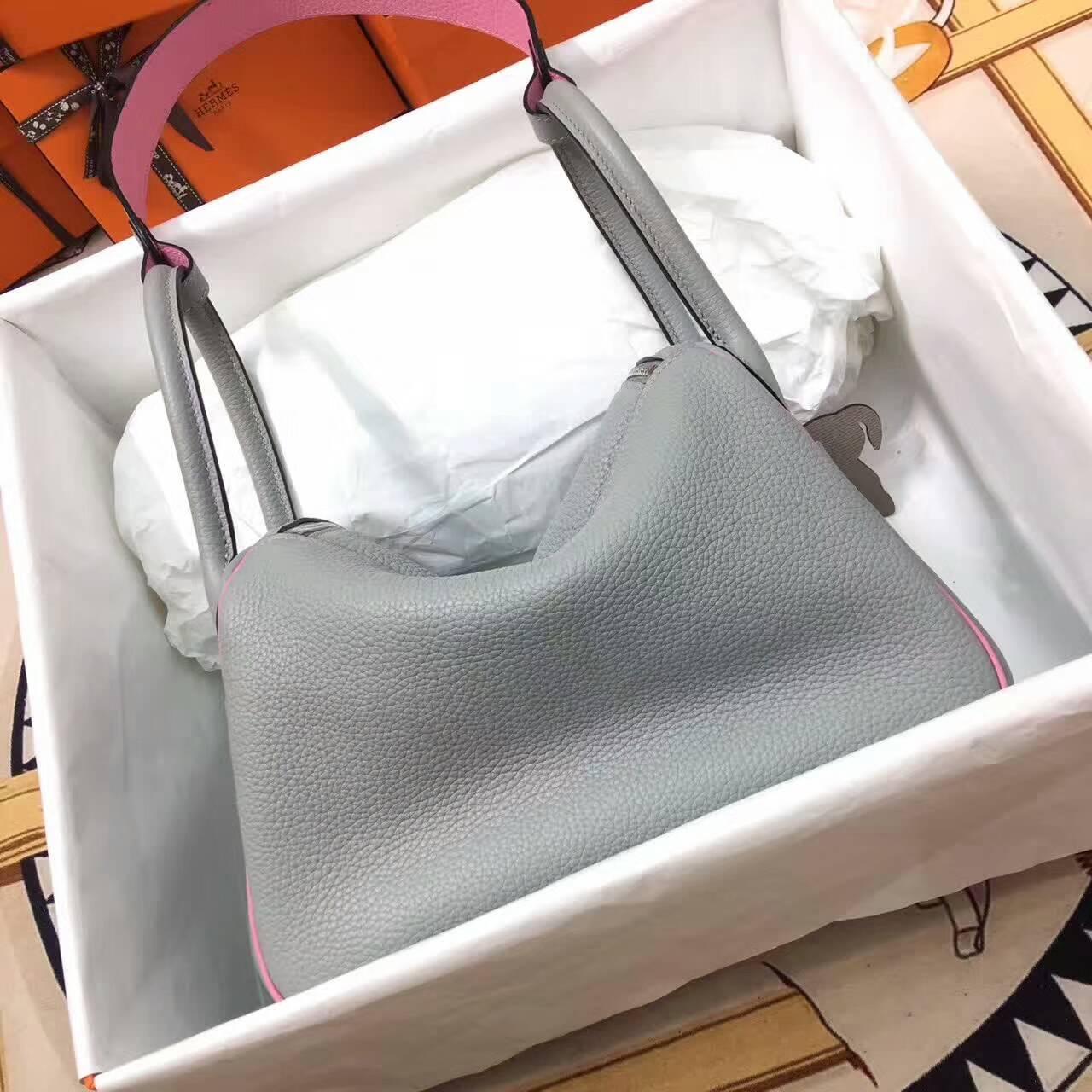 爱马仕Lindy包包 26cm Clemence 法国原产Togo大牛皮 冰川灰拼樱花粉