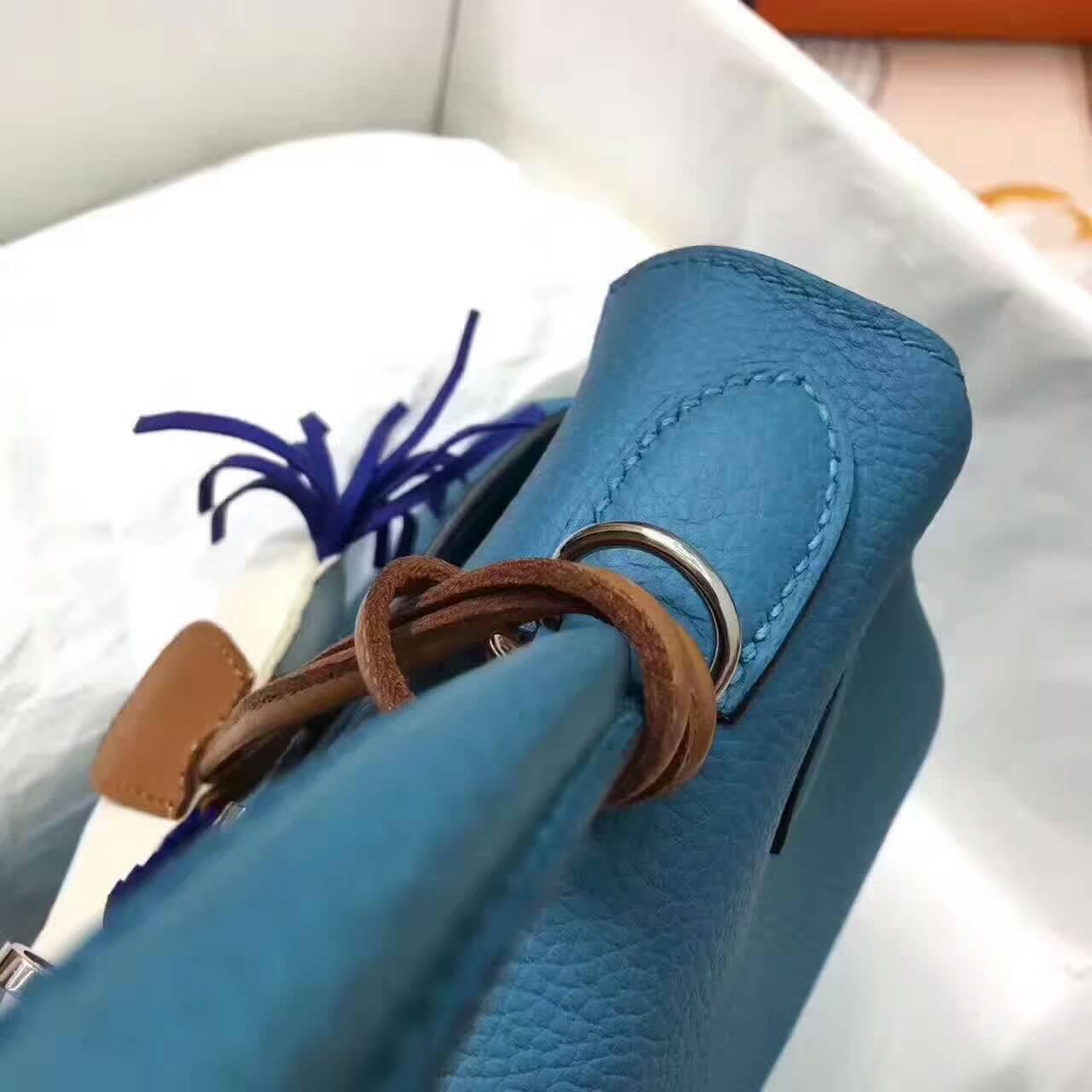 爱马仕凯莉包 Kelly 28cm Togo 法国原产小牛皮 7B Tuequoise 松石蓝 银扣