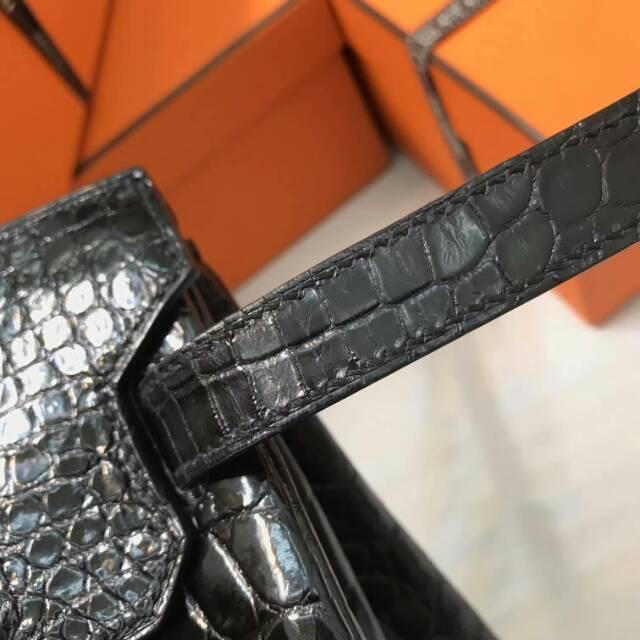 爱马仕全球代发 30Birkin shine 亮光 尼罗鳄 黑色 银扣 顶级大师纯手工打造