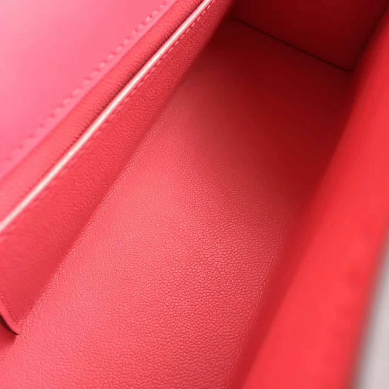 Hermes爱马仕 Mini Kelly pochette 22cm Swift 法国原产平纹小牛皮 8W Rose Azalee 唇膏粉 银扣