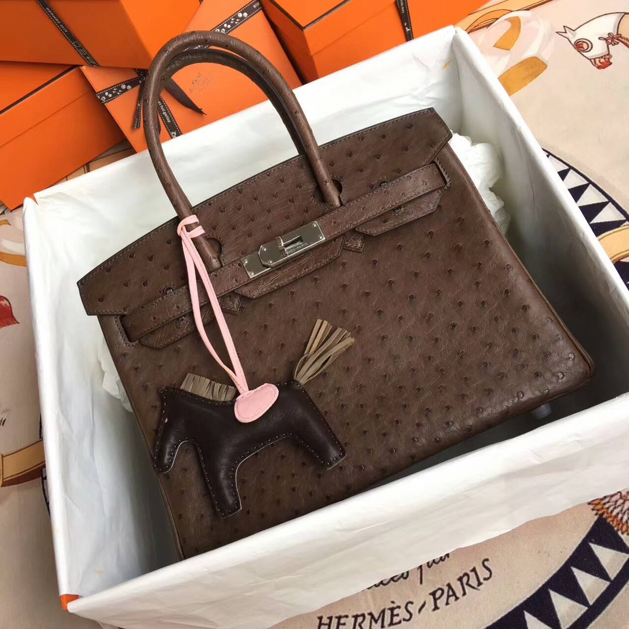 爱马仕铂金包 Birkin 30cm Ostrich Leather 南非原产KK级鸵鸟皮 CC47 Chocolat 巧克力色 深啡 银扣