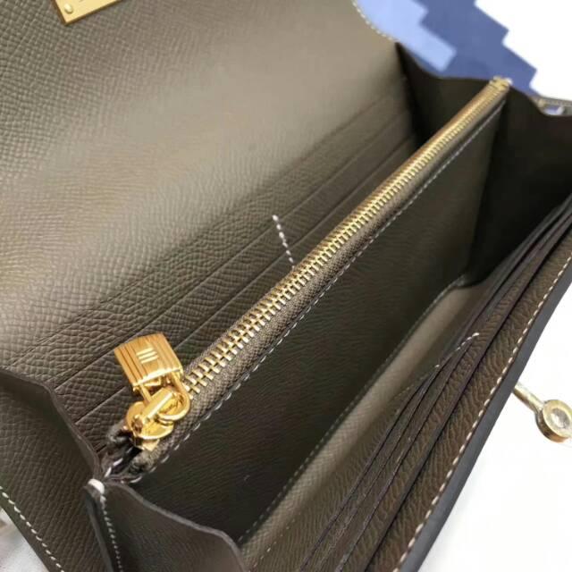 爱马仕Kelly long 21.5cm epsom CC18 Etoupe 大象灰 金扣 手缝蜡线 看得见的工艺