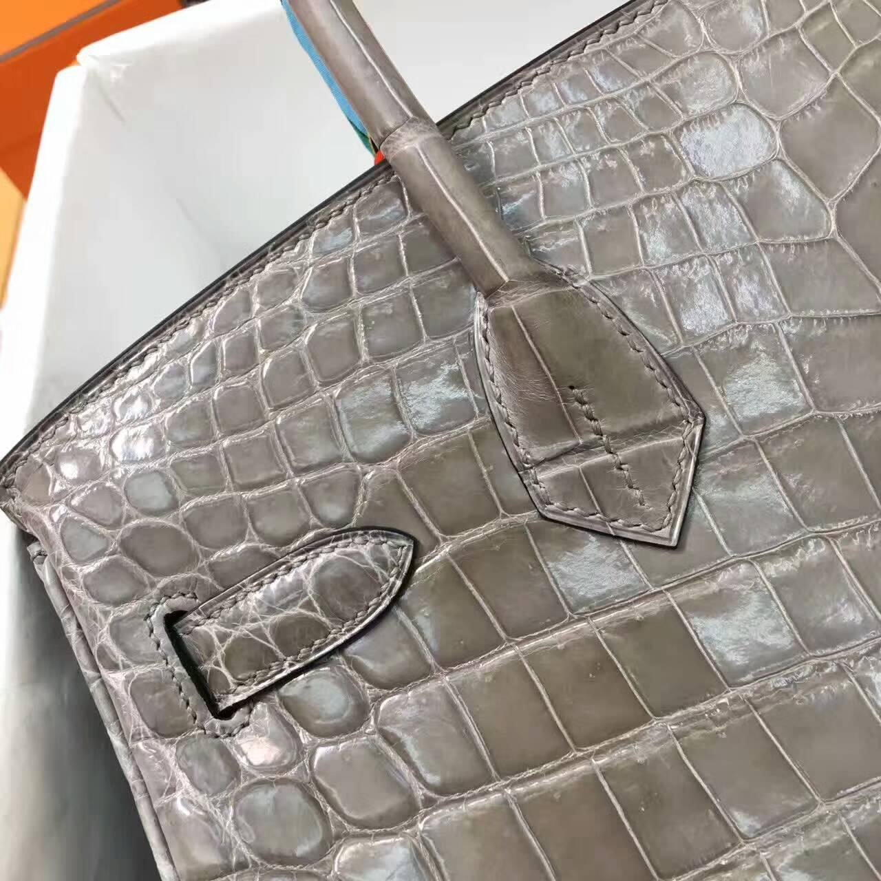 Birkin铂金包 Hermes包包 30cm Shiny Niloticus Crocodile 雾面两点非洲原产尼罗鳄 18 Etoupe 大象灰 金扣