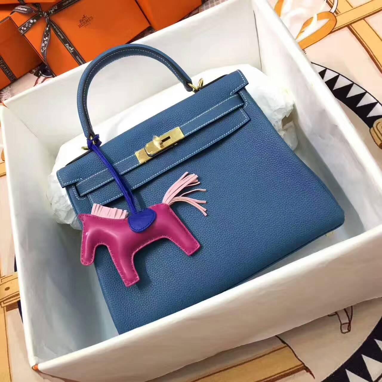 爱马仕包包 全球同步发售 Kelly 28cm Togo 法国原产小牛皮 75 Blue Jean 牛仔蓝 金扣