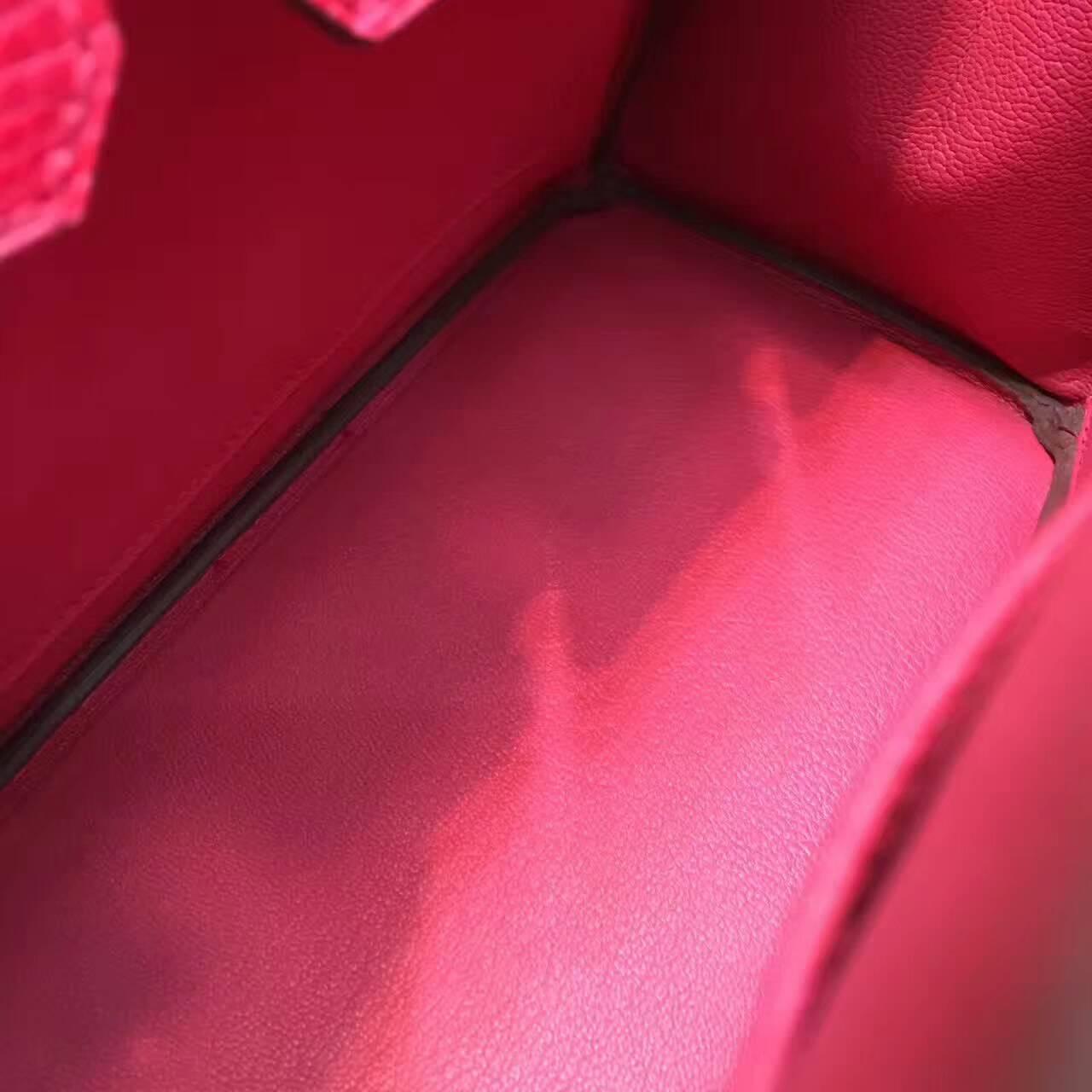 Birkin铂金包 Hermes包包 25cm Lizard 东南亚原产蜥蜴皮 8W Rose Azalee 唇膏粉 金扣