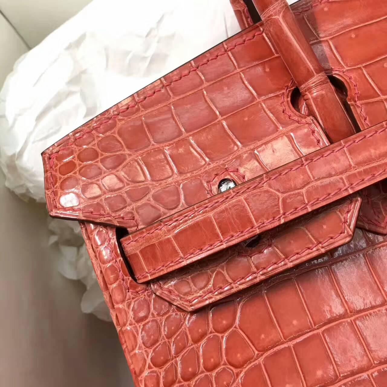 Birkin铂金包 Hermes包包 25cm Shiny Porosus Crocodile 亮面倒V澳洲原产湾鳄 L5 Crevette 龙虾粉 银扣