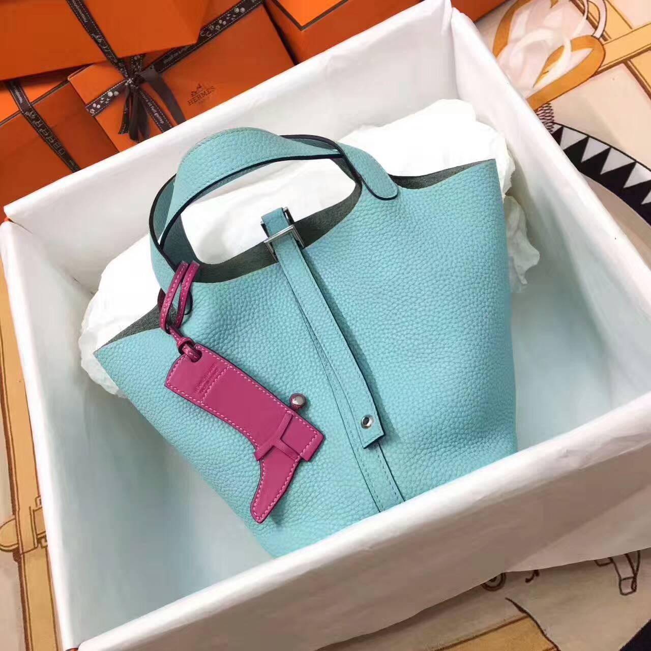 Hermes菜篮子 手工蜡线 18-22cm Togo皮 马卡龙蓝 时尚又实用