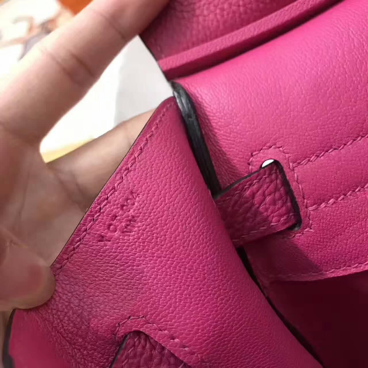 爱马仕铂金包 Birkin 30cm Togo 法国原产小牛皮 E5 Rose Tyrien 玫红 金扣