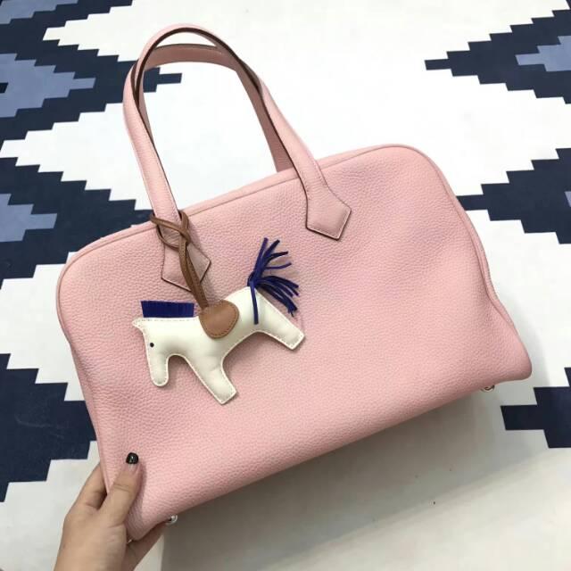 爱马仕包包 Victoria 维多利亚 35cm togo皮 3Q Rose Sakura 芭比粉 蜡线手工打造 无敌霸气