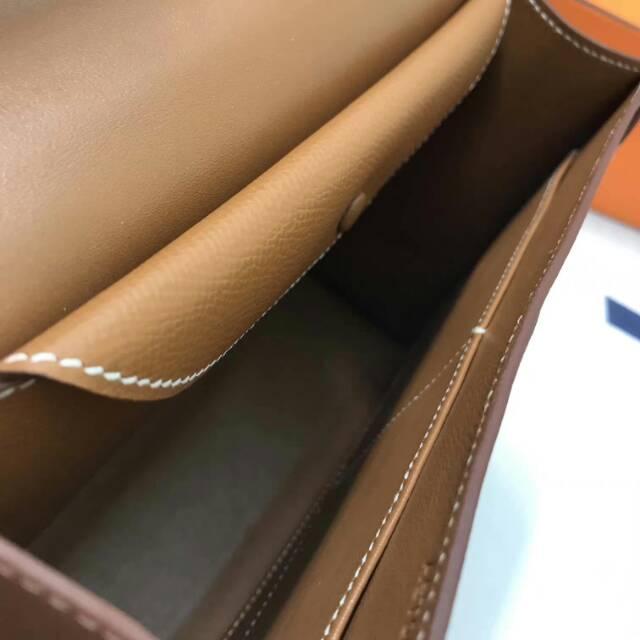 爱马仕Verrou插销包手枪包 24cm epsom皮 金棕色 银扣 蜡线纯手工顶级工艺
