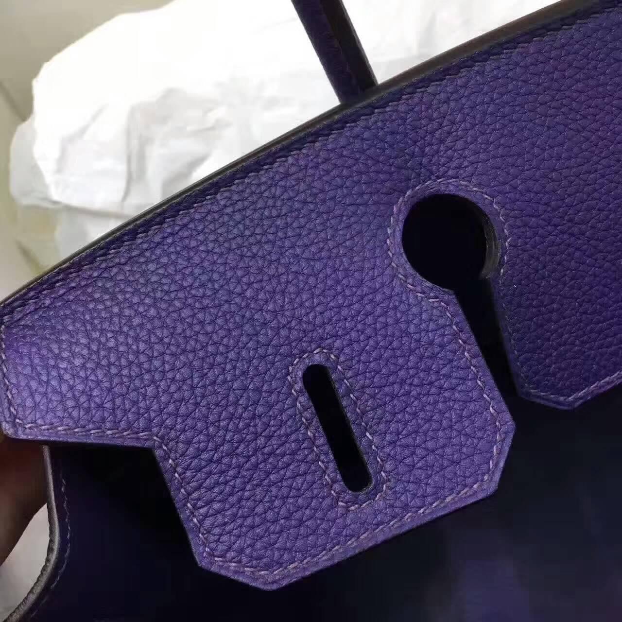 爱马仕铂金包 Birkin 30cm Togo 法国原产小牛皮 9K Lris 鸢尾花紫 紫罗兰 金扣