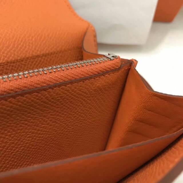爱马仕Kelly long 21.5cm epsom CC93 Orange 橙色 银扣 手缝蜡线 看得见的工艺