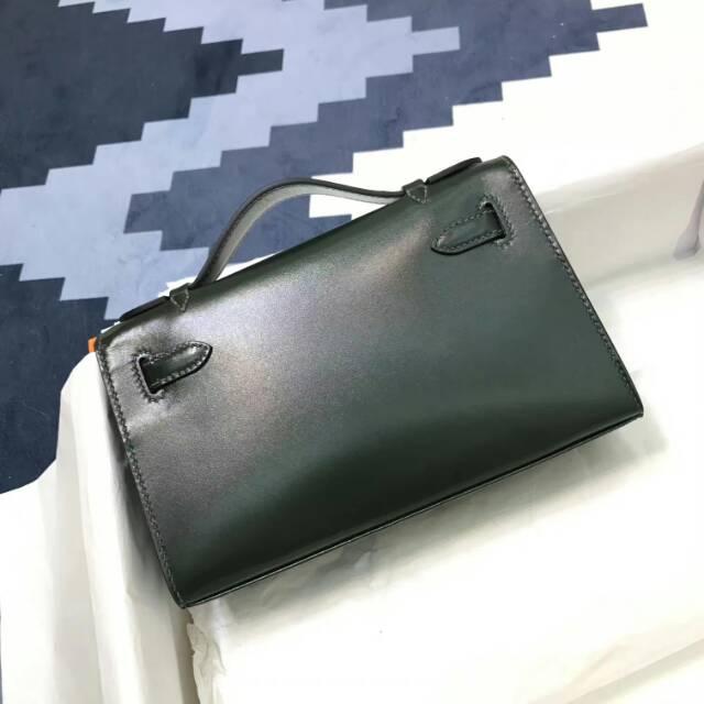 爱马仕包包 stock 22kelly pochette box皮 2Q Vert Amclais 英国绿 金扣 进口法国蜡线手工缝制