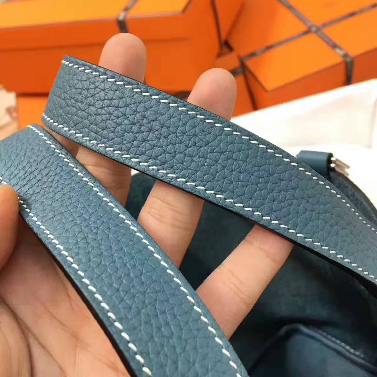 Hermes菜篮子 手工蜡线 18-22cm Togo皮 牛仔蓝 时尚又实用