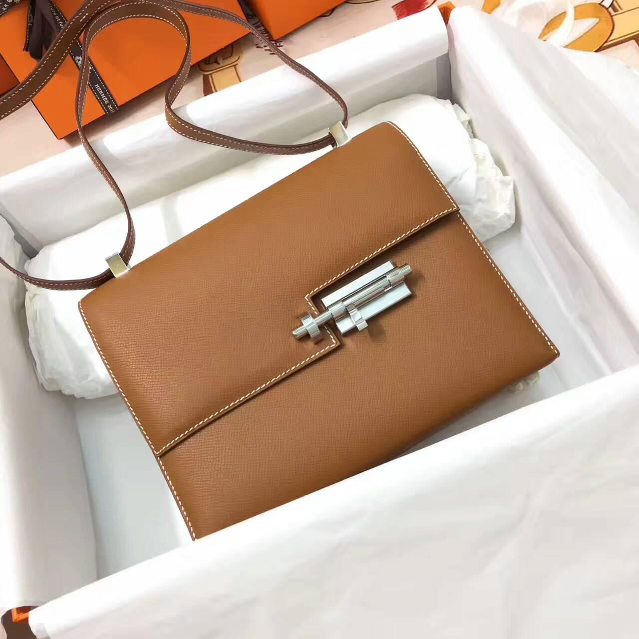 插销包手枪包 爱马仕全球同步发售 Verrou 23cm Epsom 法国原产掌纹皮 37 Gold 金棕土黄 银扣