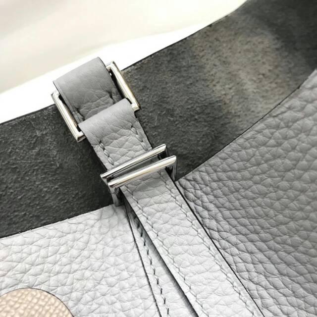 爱马仕菜篮子 Picotin Lock 22cm 8U Glacierw 冰川灰 蜡线手工缝制