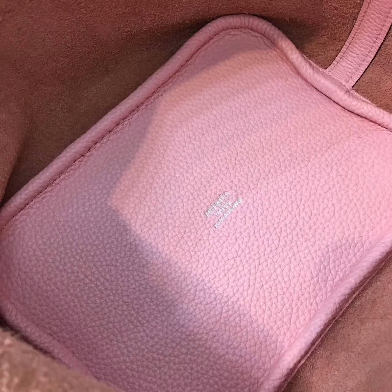 Hermes爱马仕菜篮子 Picotin Lock 18cm Clememce 法国原产Tc皮 3Q Rose Sakura 芭比粉 银扣