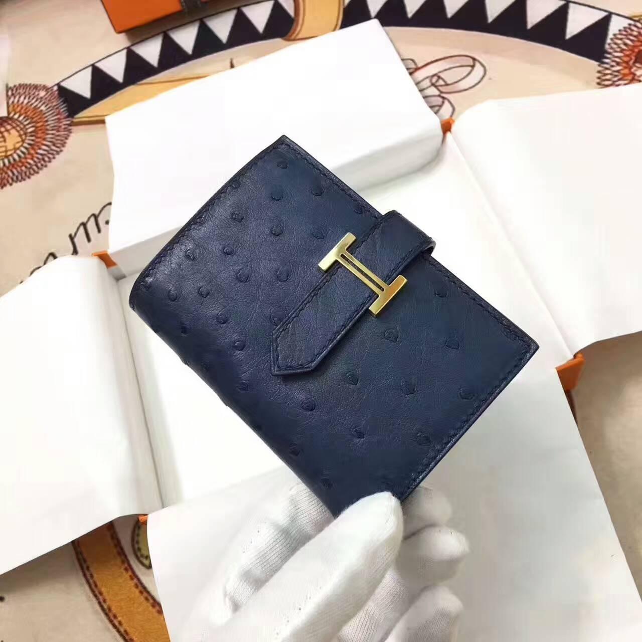 爱马仕卡包 鸵鸟皮 深宝石蓝 金扣 手工蜡线 时尚又实用
