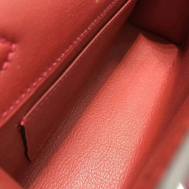爱马仕包包 stock 22kelly pochette swift皮 5E Wermillon 朱砂红 金扣 进口法国蜡线手工缝制
