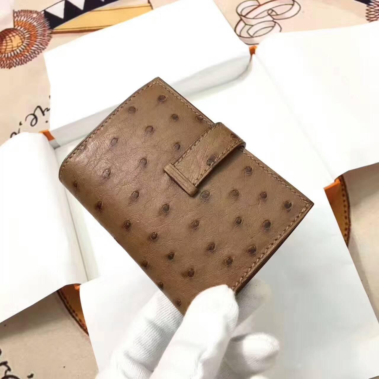 爱马仕卡包 鸵鸟皮 土黄 银扣 手工蜡线 时尚又实用